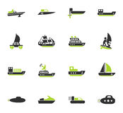 Water transport icon set Royalty Free Stock Images