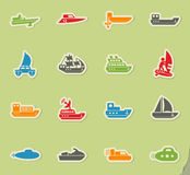 Water transport icon set Royalty Free Stock Photos