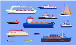 Water transport illustration. S of various sizes and models Stock Photos