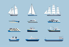 Water Transport - modern vector flat design icons set Stock Images