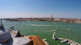 Water transport moving on Grand Canal in Venice, view from top of church. Stock footage stock video