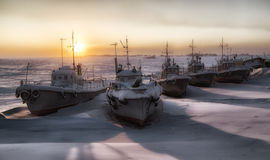 Water transport. Nature, landscape. Ships in the winter in the snow waiting for spring Royalty Free Stock Photos