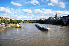 Water transport on Rhine, Basel Royalty Free Stock Image