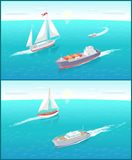Water Transport and Sailing Boats Ferry Vector. Water transport and sailing boats and ferry set vector. Vessels with cargo and goods in boxes for transportation stock illustration