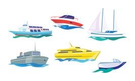 Water transport set, yacht, motorboat, steamship, fishing boat, ship vector Illustration on a white background. Water transport set, yacht, motorboat, steamship stock illustration