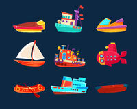 Water Transport Toy Icon Collection Royalty Free Stock Photos