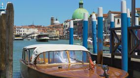 Water transport in Venice, beautiful motorboat floating in Grand Canal, tour. Stock footage stock footage