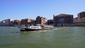 Water transport, view from boat on vaporetto sailing on Grand Canal in Venice. Stock footage stock video footage