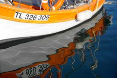 Water Transportation, Boat, Orange, Water stock images