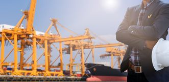 Water transportation. And cargo ship and pilotage Stock Photography