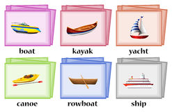 Water transportations on flashcards Stock Images