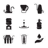 Water treatment, filter icons set. Black on a white background Royalty Free Stock Photography