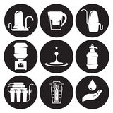 Water treatment, filter icons set. White on a black background Royalty Free Stock Image
