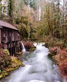 A water treatment house by a river stock photo