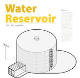 Water treatment isometric building infographic, big wire bacterium purifier. Royalty Free Stock Images