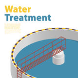 Water treatment isometric building infographic, detailed bacterium purifier, white background. Royalty Free Stock Images