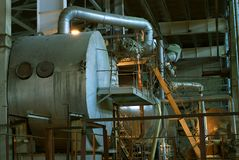Water treatment piping. On power plant royalty free stock images