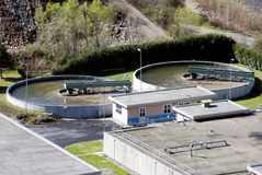Water treatment plant. A water treatment plant with two treatment ponds viewed from the air Royalty Free Stock Image