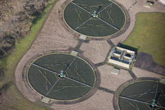 Water treatment plant aerial. An aerial view of a water treatment (sewage) plant stock photography
