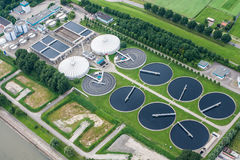 Water Treatment Plant. A water treatment plant along the Maas River in the port of Rotterdam.  The Port of Rotterdam is the largest port and industrial complex Stock Photography
