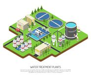 Water Treatment Plants. Isometric vector illustration with storage tank distribution prefiltration and final filtration units stock illustration