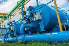 Water treatment process and Sand Filter Tank of Water Treatment Plant.  stock photos