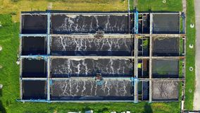 Water treatment recycle system technology. Aerial top down drone view