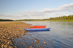 Water trip on the river Schugor in the Komi Republic. Royalty Free Stock Image