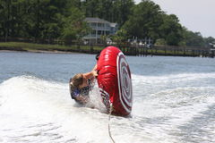 Water tubing wipeout. A woman flipping over while tubing in the water royalty free stock photo