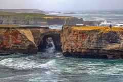 The water tunnel. A tunnel formation made by the Pacific Ocean, at the beautiful California Coastline in Mendocino County Royalty Free Stock Image