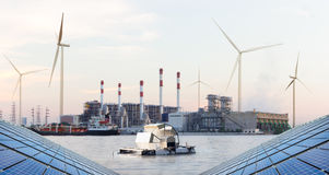 Water turbine in front of Thermal power plant, Green Energy Stock Photography
