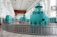 Water-turbine generator. Set in a large hydroelectric station stock image