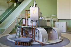 Water-turbine generator. In a  hydroelectric station Royalty Free Stock Image