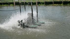 Water turbine spinning for clean and treatment with ambient sound. Water turbine spinning for clean up and treatment with ambient sound stock video