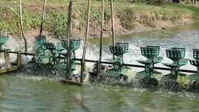 Water Turbines at Fishing Pond stock video footage