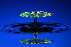 Water Umbrella on blue. Two drops collide to create an umbrella Royalty Free Stock Photo