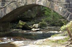 Water under the Bridge. A small stream wanders under a stone bridge. Focus is on the bridge stock photo