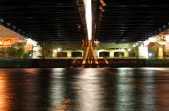 Water under a bridge. The Mississippi River flows under a bridge in Minneapolis stock image