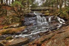 Water Under the Bridge. Little High Falls in fall, tucked away in Bracebridge stock image