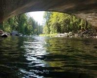 Water under bridge. Nature river Zion national park stock photos