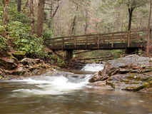 Water under bridge. Stream flowing under wooden bridge in forest stock images