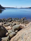 Water under the bridge. Uddevalla bridge on the West coast in Sweden Royalty Free Stock Photos