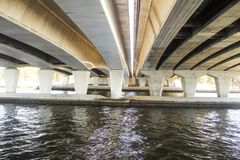 Water under an urban bridge Perth Australia Stock Photos
