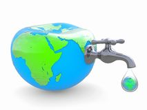 Water use on the earth. 3D image. Stock Photos