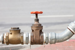 Water valve of brass mounted connect with steel pipe Royalty Free Stock Photos