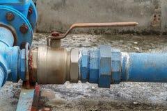 Water valve plumbing joint , steel rust industrial old  tap pipe Stock Photos