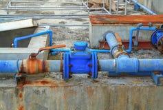 Water valve plumbing joint , steel rust industrial old  tap pipe Stock Image