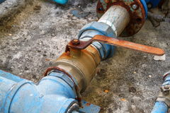 Water valve plumbing joint , steel rust industrial old  tap pipe Stock Image