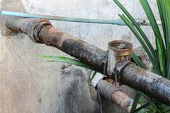 Water valve Plumbing Steel dilapidated. old rusty industrial tap Royalty Free Stock Images
