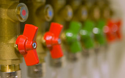 Water valves set. Color Water valves set, exposition Stock Photo